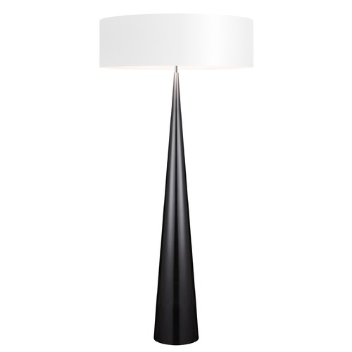 Sonneman Lighting Sonneman Big Floor Cone Gloss Black Floor Lamp with Drum Shade 6141.62W