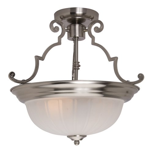 Maxim Lighting Semi-Flushmount Light with White Glass in Satin Nickel Finish 5833FTSN