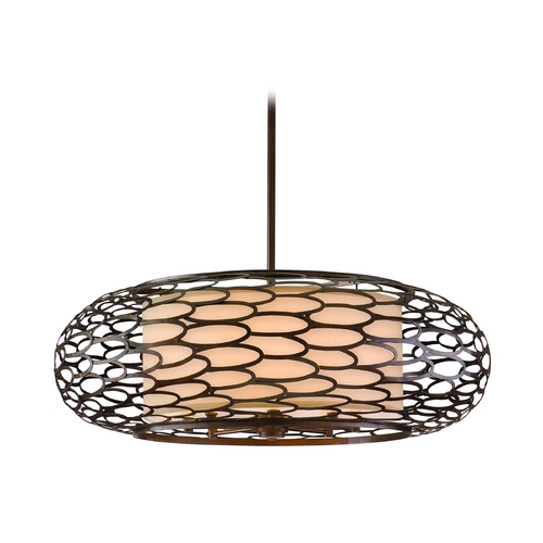 Corbett Lighting Modern Pendant Light with Beige / Cream Shades in Napoli Bronze Finish 79-48