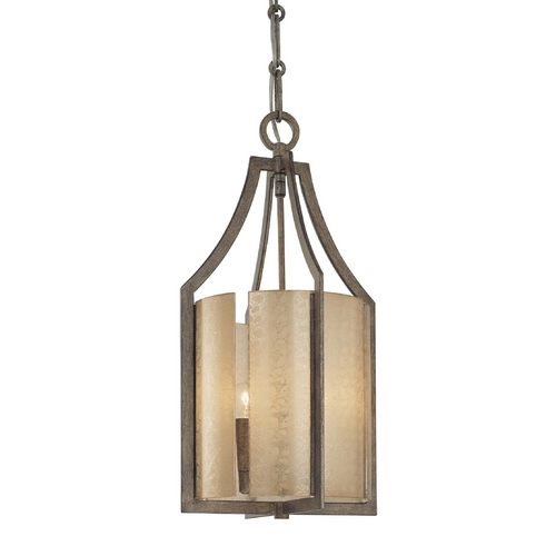 Minka Lavery Pendant Light with Beige / Cream Glass in Patina Iron Finish 4392-573