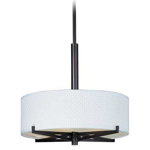 ET2 Lighting Modern Pendant Light with White Shades in Oil Rubbed Bronze Finish E95405-100OI