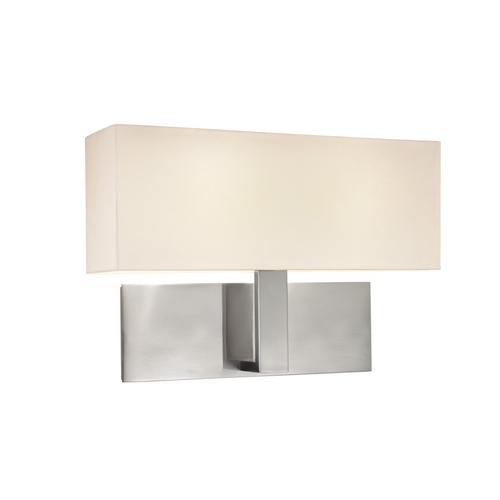 Sonneman Lighting Modern Sconce Wall Light with White Shades in Satin Nickel Finish 7025.13F