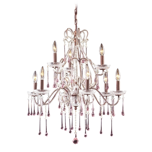 Elk Lighting Crystal Chandelier in Rust Finish 4013/6+3RS