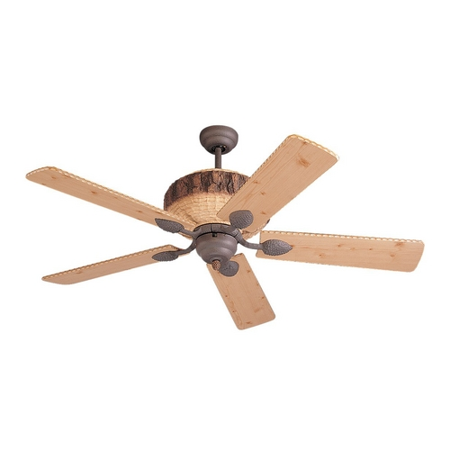 Monte Carlo Fans Ceiling Fan Without Light in Weathered Iron / Lodge Pine Finish 5GL52WI
