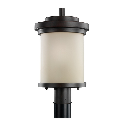 Sea Gull Lighting Modern Post Light with Beige / Cream Glass in Misted Bronze Finish 82660-814