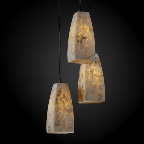 Justice Design Group Justice Design Group Alabaster Rocks! Collection Multi-Light Pendant ALR-8864-65-DBRZ