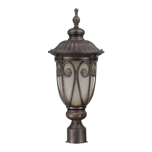 Nuvo Lighting Post Light with Beige / Cream Glass in Burlwood Finish 60/3929