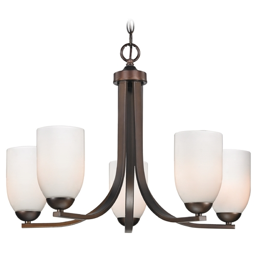 Design Classics Lighting Design Classics Modern 5-Light Chandelier with Opal White Glass in Neuvelle Bronze 584-220 GL1024D