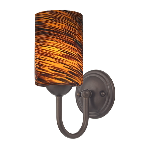 Design Classics Lighting Sconce with Brown Art Glass in Bronze Finish 593-220 GL1023C