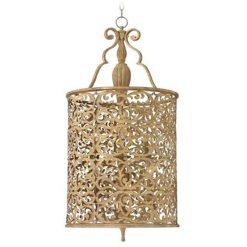 Fredrick Ramond Frederick Ramond Carabel Brushed Champagne Pendant Light with Cylindrical Shade FR44625BCH