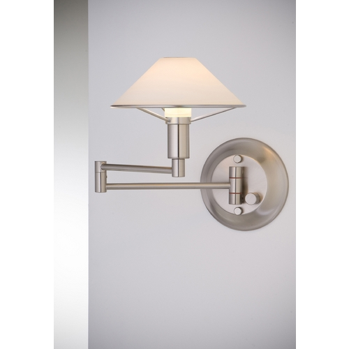 Holtkoetter Lighting Holtkoetter Modern Swing Arm Lamp with White Glass in Satin Nickel Finish 9426 SN TRW