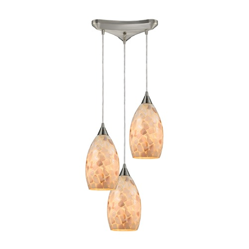 Elk Lighting Elk Lighting Capri Satin Nickel Multi-Light Pendant with Bowl / Dome Shade 10443/3