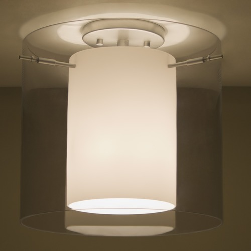Besa Lighting Besa Lighting Pahu Satin Nickel LED Semi-Flushmount Light 1KM-S18407-LED-SN
