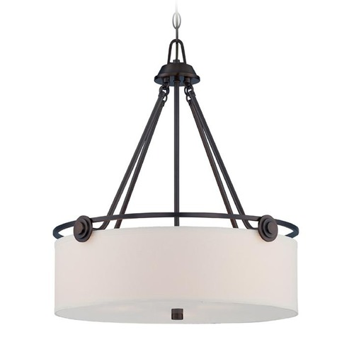 Designers Fountain Lighting Designers Fountain Gramercy Park Old English Bronze Pendant Light with Drum Shade 87131-OEB