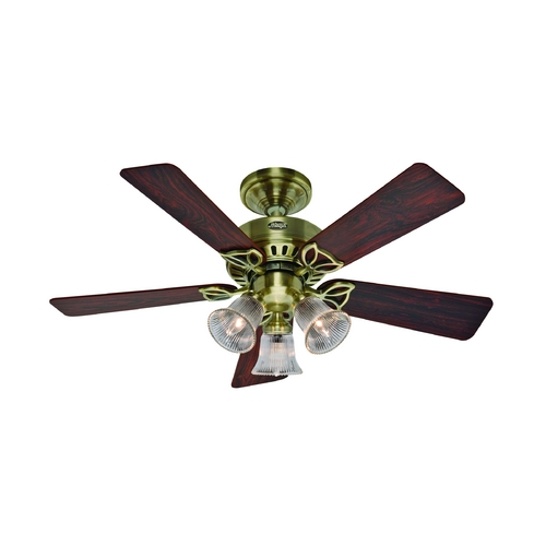 Hunter Fan Company Hunter Fan Company the Beacon Hill Antique Brass Ceiling Fan with Light 53078