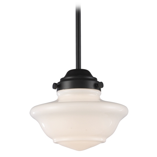 Elk Lighting Schoolhouse Mini-Pendant Light with White Glass 69052-1