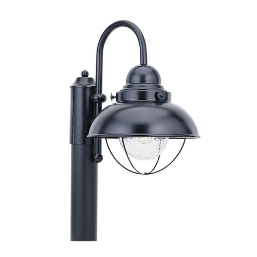Sea Gull Lighting Post Light with Clear Glass in Black Finish 8269-12