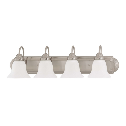 Nuvo Lighting Bathroom Light with White Glass in Brushed Nickel Finish 60/3324
