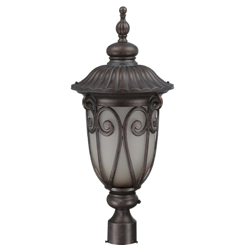 Nuvo Lighting Post Light with Beige / Cream Glass in Burlwood Finish 60/3931