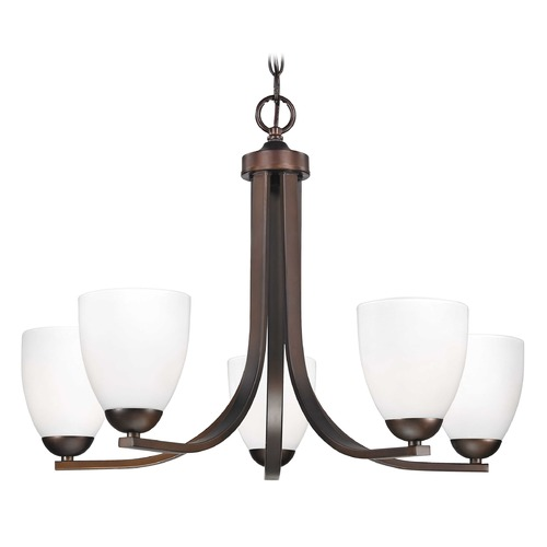 Design Classics Lighting Bronze Chandelier with Opal White Bell Shades and Five Lights 584-220 GL1024MB