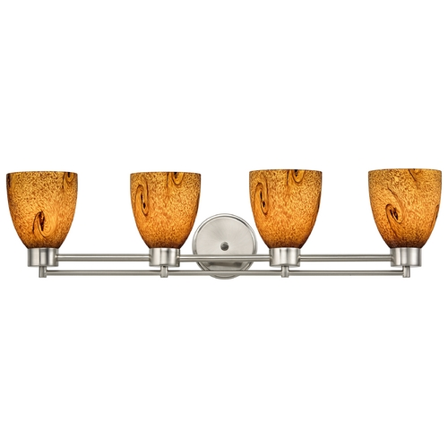 Design Classics Lighting Modern Bathroom Light with Brown Art Glass in Satin Nickel Finish 704-09 GL1001MB