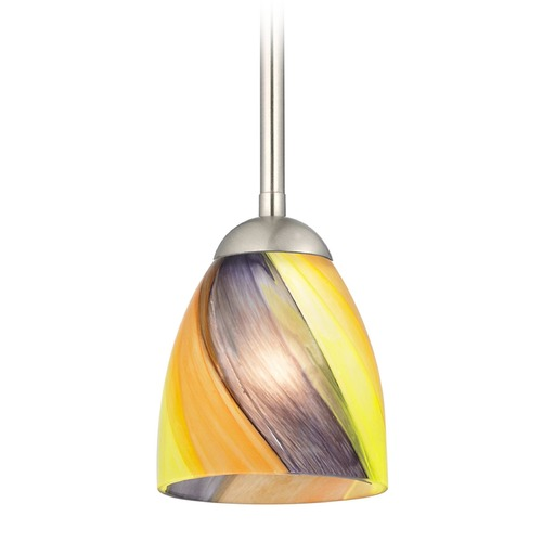 Design Classics Lighting Design Classics Gala Fuse Satin Nickel LED Mini-Pendant Light with Bell Shade 681-09 GL1015MB