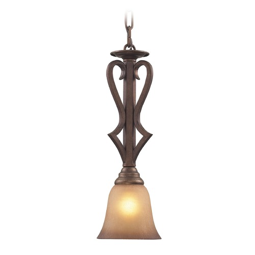Elk Lighting Lawrenceville Mocha Mini-Pendant Light with Bell Shade - Includes Recessed Adapter Kit 9325/1-LA