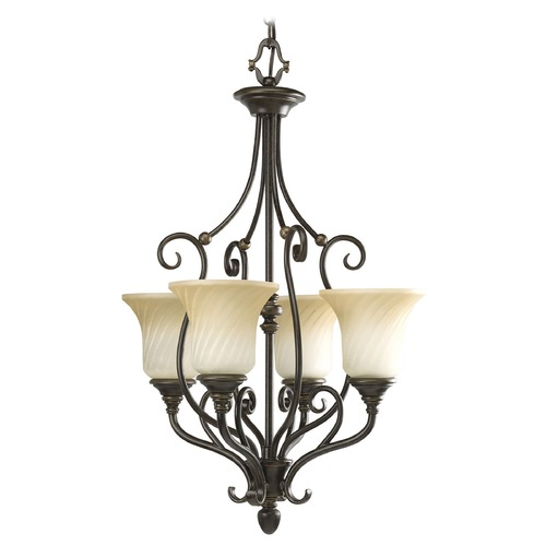Progress Lighting Progress Chandelier with Beige / Cream Glass in Forged Bronze Finish P3464-77