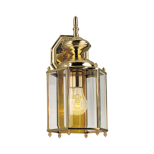 Progress Lighting Progress Outdoor Wall Light with Clear Glass in Polished Brass Finish P5832-10