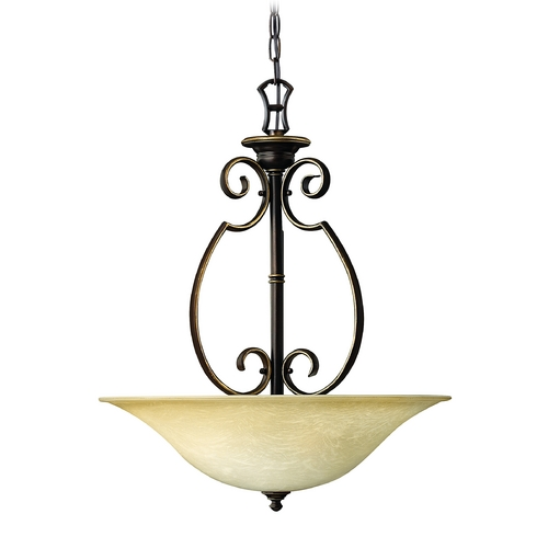Hinkley Lighting Pendant Light with Alabaster Glass in Antique Bronze Finish 4564AT