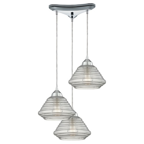 Elk Lighting Elk Lighting Orbital Polished Chrome Multi-Light Pendant with Bowl / Dome Shade 10424/3