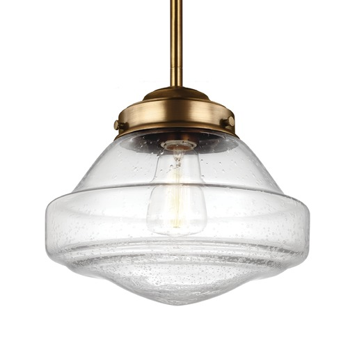 Feiss Lighting Schoolhouse Mini-Pendant Light Seeded Glass Brass 10-Inch Wide by Feiss Lighting P1378AGB