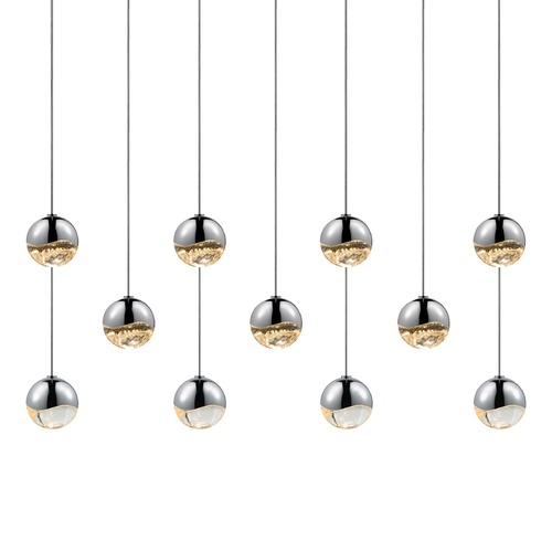 Sonneman Lighting Sonneman Grapes Polished Chrome LED Multi-Light Pendant with Globe Shade 2922.01-SML