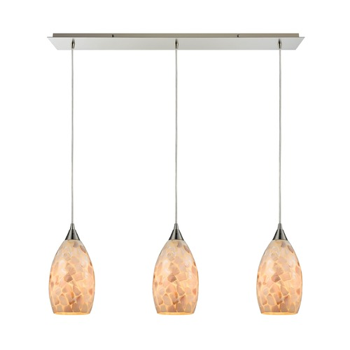 Elk Lighting Elk Lighting Capri Satin Nickel Multi-Light Pendant with Bowl / Dome Shade 10443/3LP