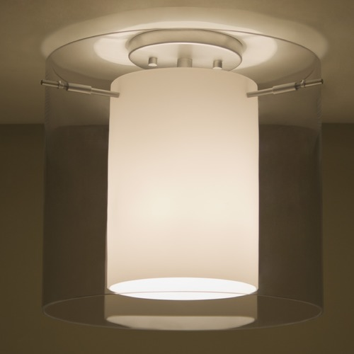 Besa Lighting Besa Lighting Pahu Satin Nickel Semi-Flushmount Light 1KM-S18407-SN