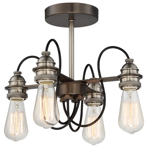 Minka Lavery Minka Uptown Edison Harvard Court Bronze with Pewter Semi-Flushmount Light 4454-784