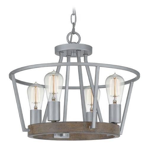 Quoizel Lighting Quoizel Lighting Brockton Brushed Silver Pendant Light BRT2817BSR