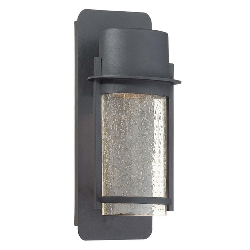 Minka Lavery Modern Outdoor Wall Light with Clear Glass in Black Finish 72251-66