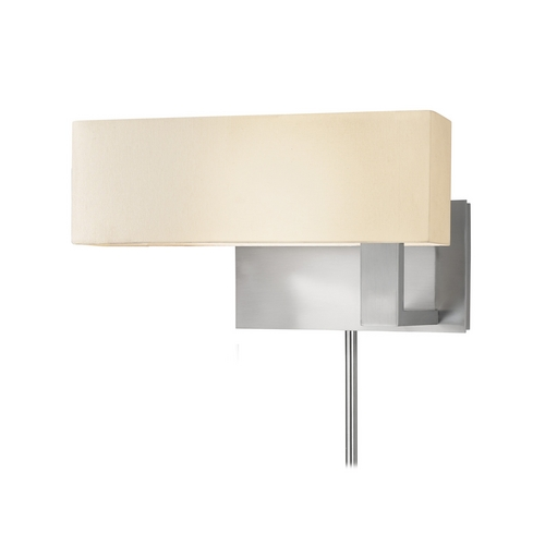 Sonneman Lighting Modern Sconce Wall Light with White Shade in Satin Nickel Finish 7026.13F