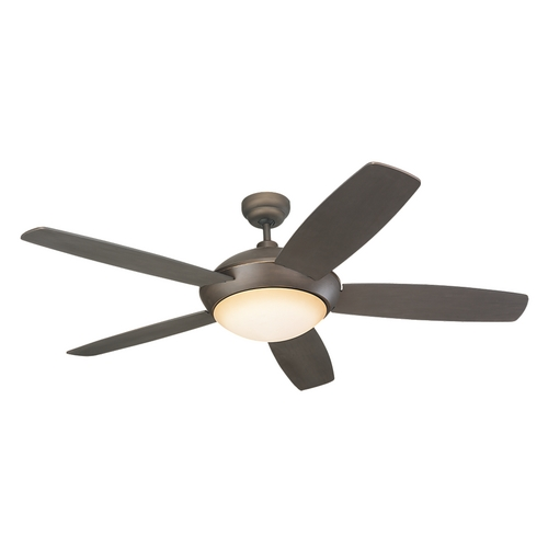 Monte Carlo Fans Modern Ceiling Fan with Light with Amber Glass in Roman Bronze / Graduated Amber Finish 5SLR52RBD-B
