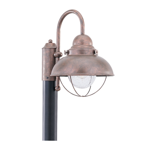 Sea Gull Lighting Post Light with Clear Glass in Weathered Copper Finish 8269-44