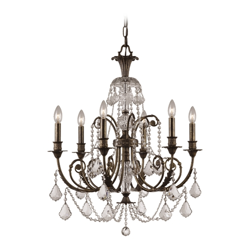 Crystorama Lighting Crystal Chandelier in English Bronze Finish 5116-EB-CL-S