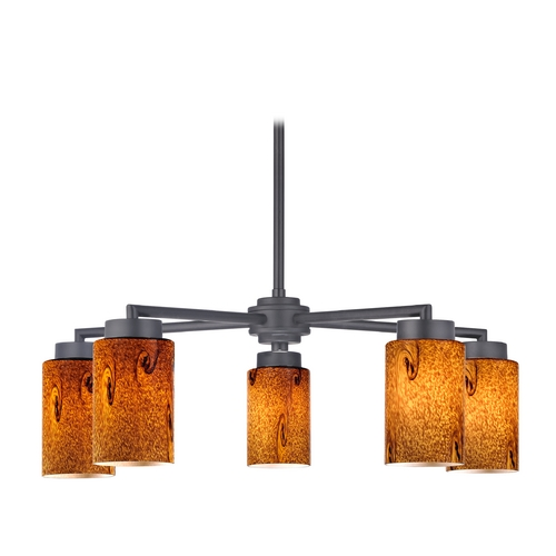 Design Classics Lighting Modern Chandelier with Five Lights and Brown Art Glass 590-07 GL1001C