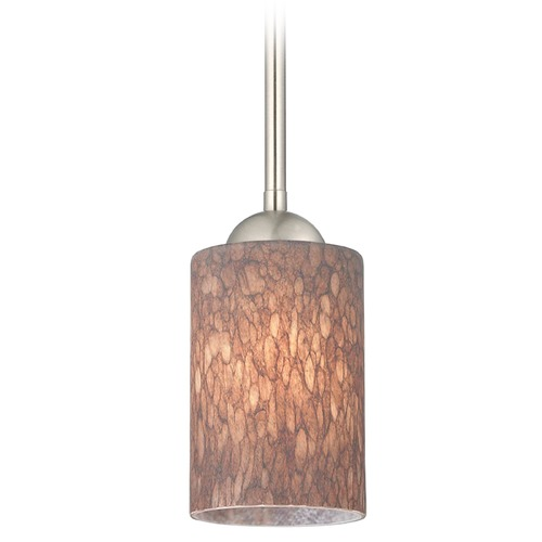 Design Classics Lighting Design Classics Gala Fuse Satin Nickel LED Mini-Pendant Light with Cylindrical Shade 681-09 GL1016C