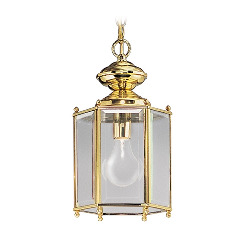 Progress Lighting Progress Polished Brass Outdoor Hanging Light with Clear Glass P5834-10