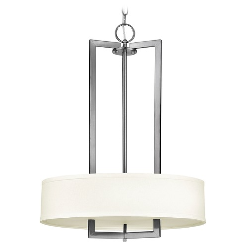 Hinkley Lighting Hinkley Lighting Hampton Antique Nickel Pendant Light with Drum Shade 3203AN