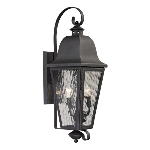 Elk Lighting Outdoor Wall Light with Clear Glass in Charcoal Finish 47101/2