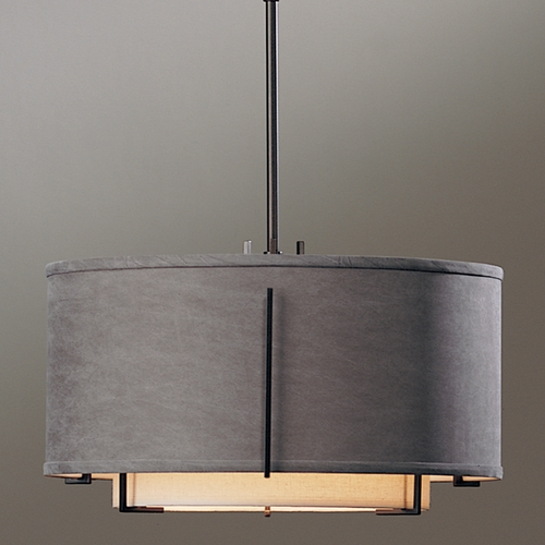 Hubbardton Forge Lighting Hubbardton Forge Lighting Exos Dark Smoke Pendant Light with Drum Shade 139602-07-DAAE