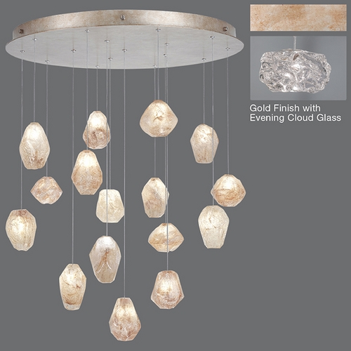 Fine Art Lamps Fine Art Lamps Natural Inspirations Gold-Toned Silver Leaf Multi-Light Pendant 862840-21ST