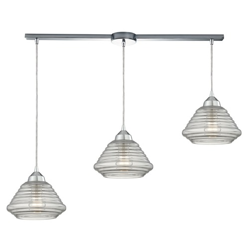 Elk Lighting Elk Lighting Orbital Polished Chrome Multi-Light Pendant with Bowl / Dome Shade 10424/3L
